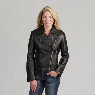 Izod Women's 'Cycle' Black New Zealand Lamb Leather Jacket