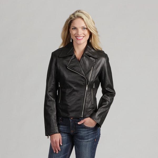 Izod Women's 'Cycle' Black New Zealand Lamb Leather Jacket