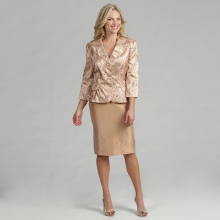Issue New York Women's 2-piece Bronze Jacquard Skirt Suit