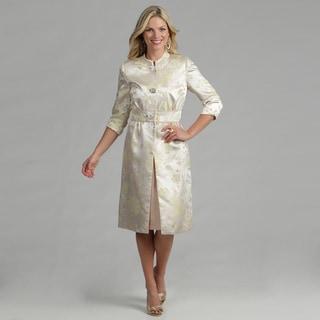 Issue New York Women's 2-piece Cream Dress and Jacquard Coat