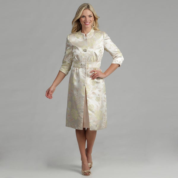 Issue New York Women's 2-piece Cream Dress and Jacquard Coat