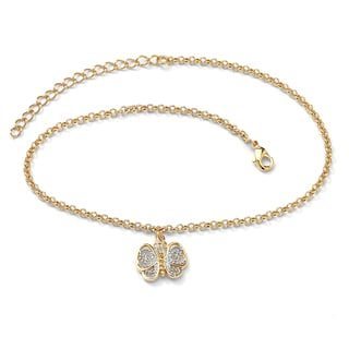 "PalmBeach 18k Gold-Plated Two-Tone Filigree Butterfly Ankle Bracelet Adjustable 9"" to 11"" Tailored"