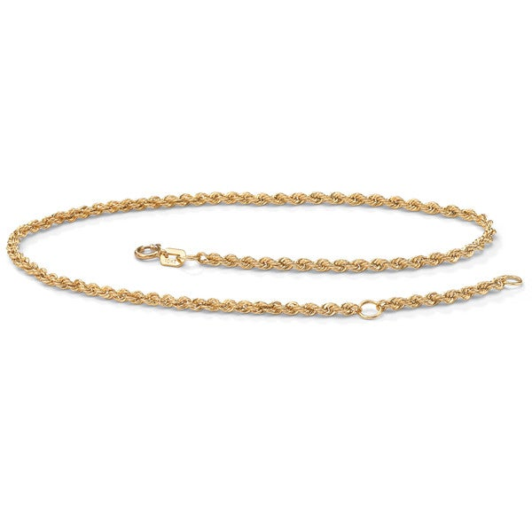 PalmBeach 10k Yellow Gold Tailored Rope Anklet Tailored