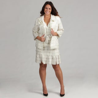 Issue New York Plus Size 2-piece Ivory/ Black Knit Dress and Jacket