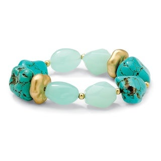 PalmBeach Gold Overlay Turquoise, Agate and Lucite Nugget Bracelet Naturalist