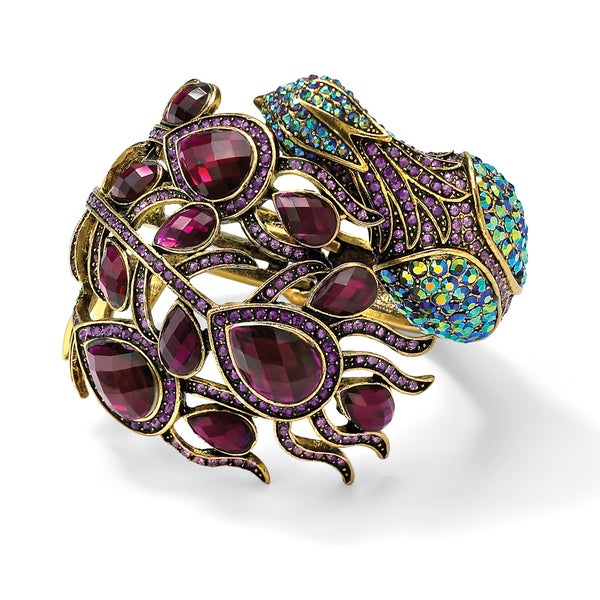 PalmBeach Multicolor Crystal Peacock Hinged Bangle Bracelet in Yellow Gold Tone Bold Fashion