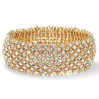 Isabella Collection 14k Goldplated White Crystal Stretch Bracelet