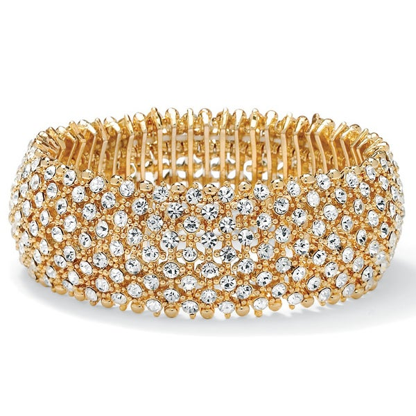 PalmBeach 14k Goldplated White Crystal Stretch Bracelet Bold Fashion