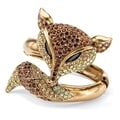 Lillith Star 14k Goldplated Brown Crystal Fox Hinged Bangle Bracelet