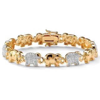 Ultimate CZ 14k Two-tone Gold Cubic Zirconia Elephant Link Bracelet