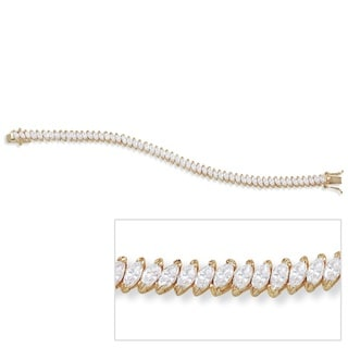 Ultimate CZ 14k Goldplated Marquise-cut Cubic Zirconia Tennis Bracelet