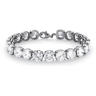 """PalmBeach 42.00 TCW Round Cubic Zirconia Platinum Plated Tennis Bracelet 7 1/4"""" Glam CZ"""