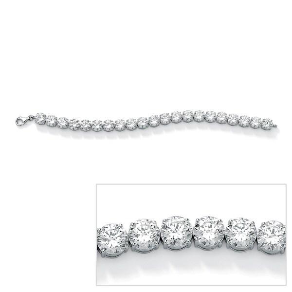 PalmBeach CZ Platinum-plated Round Cubic Zirconia Tennis Bracelet Glam CZ