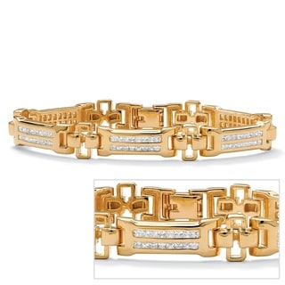Ultimate CZ 14k Goldplated Men's Channel-set Cubic Zirconia Bracelet