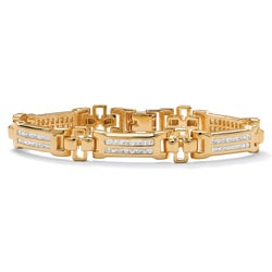 PalmBeach CZ 14k Goldplated Men's Channel-set Cubic Zirconia Bracelet