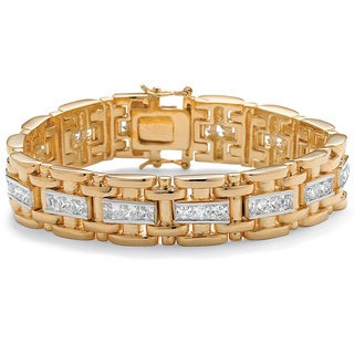 Ultimate 14k Two-tone Goldplated Men&#39;s Channel-set CZ Bracelet