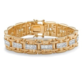 Ultimate 14k Two-tone Goldplated Men's Channel-set CZ Bracelet