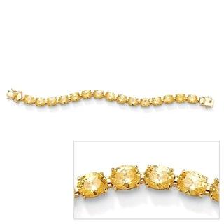 PalmBeach 14k Goldplated Yellow Cubic Zirconia Tennis Bracelet Glam CZ