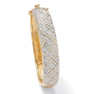 PalmBeach 14k Goldplated 3 7/8ct TGW Cubic Zirconia Lattice Bangle Bracelet Glam CZ
