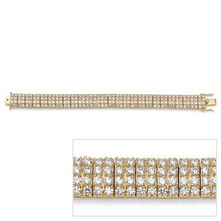 Ultimate CZ 14k Goldplated Multi-row Cubic Zirconia Station Tennis Bracelet