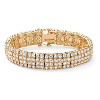"""PalmBeach 20.00 TCW Round Cubic Zirconia 14k Yellow Gold-Plated Multi-Row Station Tennis Bracelet 7 1/2"""" Glam CZ"""
