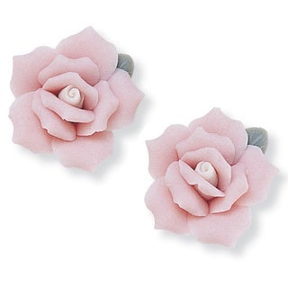 PalmBeach Ceramic Rose Flower Earrings Color Fun