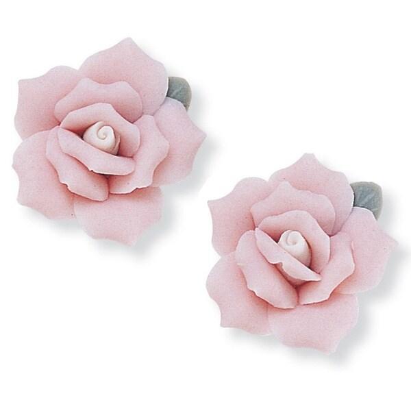 PalmBeach Ceramic Rose Flower Earrings Color Fun