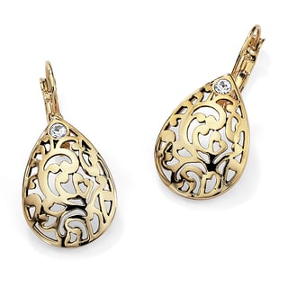 PalmBeach Round Crystal Accent 14k Gold-Plated Filigree Pear-Shaped Drop Earrings Color Fun