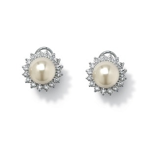 PalmBeach Sterling Silver Simulated Pearl Earrings Naturalist
