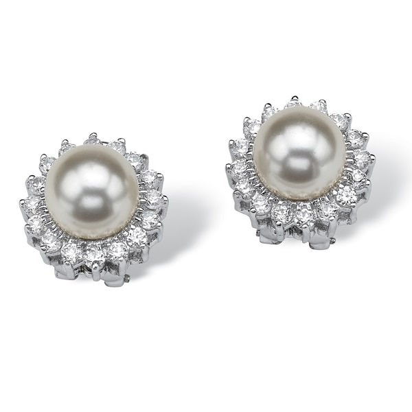 PalmBeach 1.06 TCW Cubic Zirconia and Pearl Sterling Silver Button Earrings Naturalist
