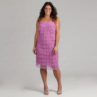 Issue New York Women's Plus Lilac Mesh Fringe Dress