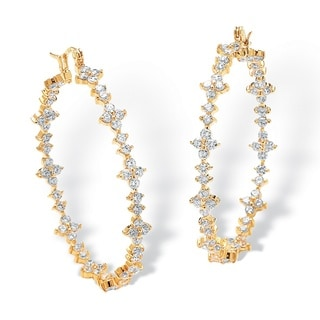 Ultimate CZ 14k Gold-plated CZ Garland Hoop Earrings