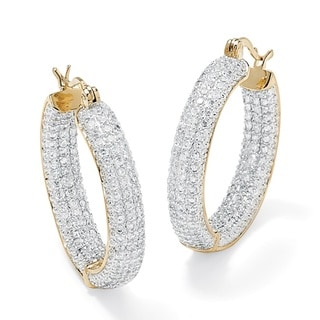 Ultimate CZ Two-tone Cubic Zirconia Hoop Earrings