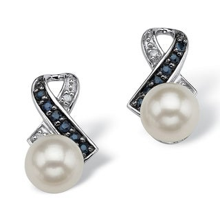 Angelina D'Andrea Platinum over Silver Pearl, Sapphire and Diamond Earrings