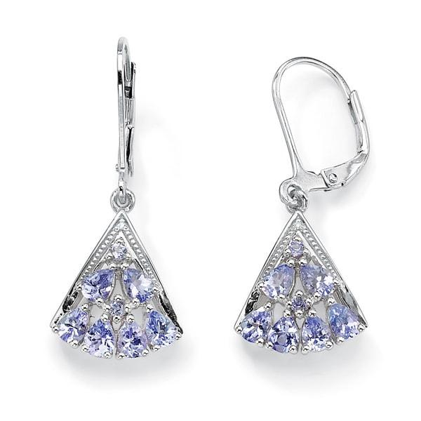 PalmBeach 1.28 TCW Pear-Cut Genuine Tanzanite Diamond Accent Platinum over Sterling Silver Fan-Shaped Earrings