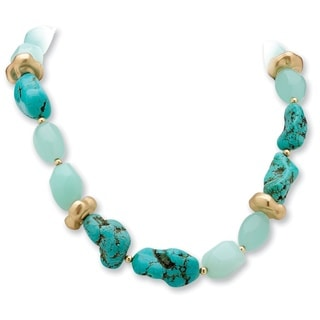 "PalmBeach Viennese Turquoise and Simulated Chalcedony Nugget Necklace in Yellow Gold Tone 16"" Naturalist"