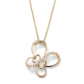 Ultimate CZ 14k Gold-plated CZ Butterfly Pendant