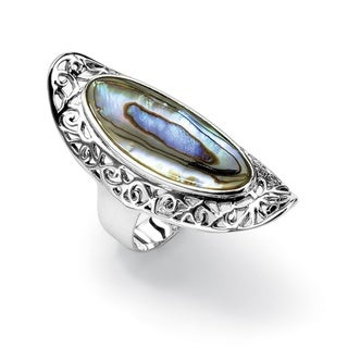 Angelina D'Andrea Sterling Silver Abalone Scroll Ring