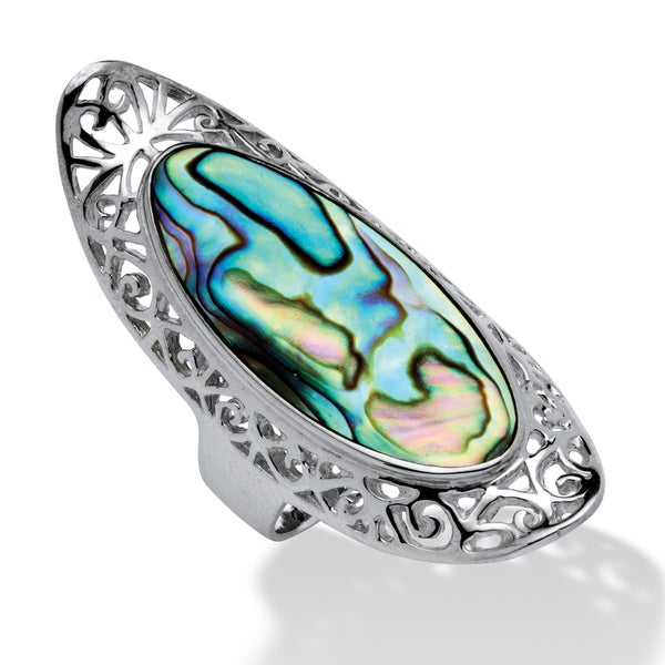 PalmBeach Oval-Shaped Genuine Abalone Filigree Scroll Cocktail Ring in Sterling Silver Naturalist