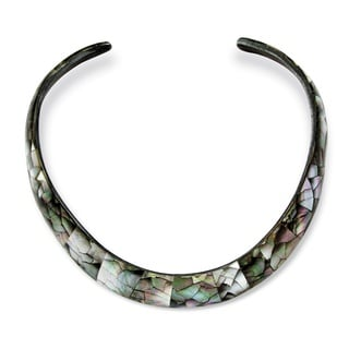 Angelina D'Andrea Black Mother of Pearl Choker Necklace