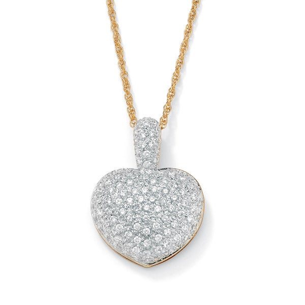 """PalmBeach 2.50 TCW Pave-Set Cubic Zirconia 14k Gold-Plated Heart-Shaped Pendant and Chain 18"""" Glam CZ"""