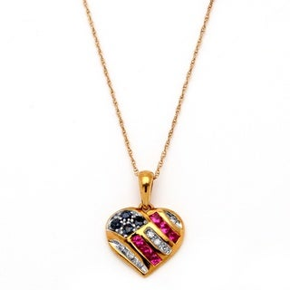 PalmBeach 10k Gold Blue Sapphire, Diamond and Created Ruby Patriotic Pendant