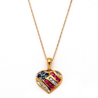 Angelina D'Andrea 10k Gold Blue Sapphire, Diamond and Created Ruby Patriotic Pendant