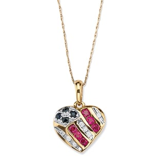 """PalmBeach 1/5 TCW Round Genuine Sapphire and Lab-Created Ruby 10k Yellow Gold Patriotic Pendant and Chain 18"""""""