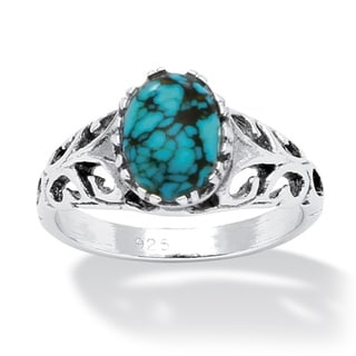 Palmbeach Sterling Silver Simulated Turquoise Ring