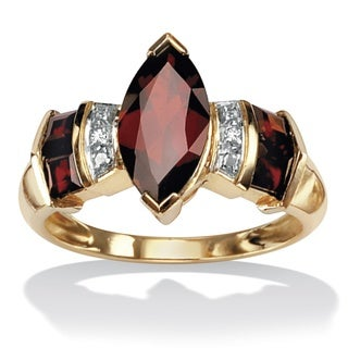 PalmBeach 10k Yellow Gold Garnet and Diamond Accent Ring