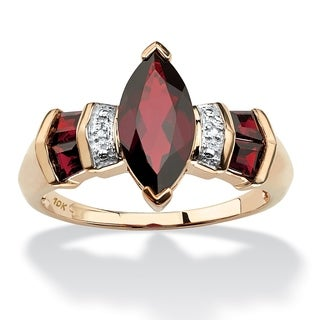 Angelina D'Andrea 10k Yellow Gold Garnet and Diamond Accent Ring