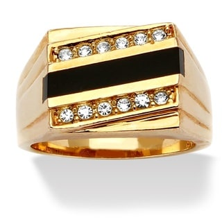 PalmBeach Gold Overlay Men's Onyx and Crystal Accent Ring