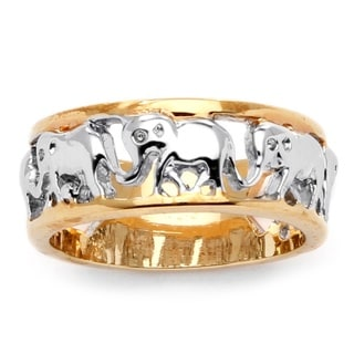 Toscana 14k Two-tone Goldplated Elephant Caravan Ring
