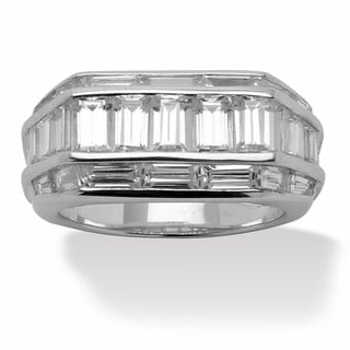 Ultimate CZ Platinum over Silver Men's Baguette Cubic Zirconia Ring